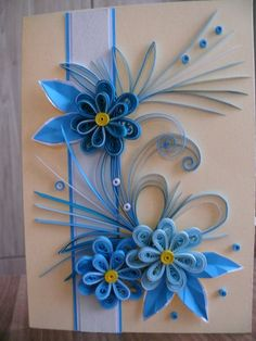 Greeting Cards, Quilling Carts, Wedding Greeting, birthday card, paper stripes  Birthday quilling card with beautiful blue flower.  Size of card: 147 x 205 mm.  Designed to sit vertically.  The card is packaged carefully to ensure a safe delivery.  With love, Natali