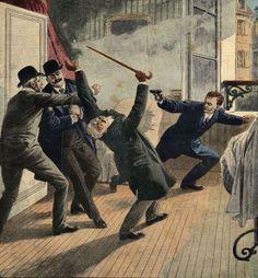 Bonnot tue le sous-chef de la Sûreté, Louis Jouin, le 28 avril 1912, à Ivry-sur-Seine (Le Petit Journal).