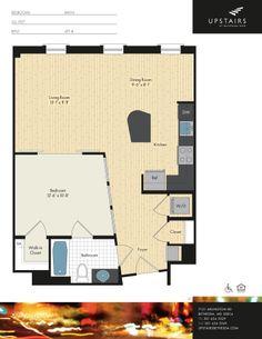 One bedroom, One bath, 752 square feet.