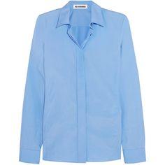 Jil Sander Cotton-poplin shirt ($400) ❤ liked on Polyvore featuring tops, shirts, blue, jil sander, blue shirt, light blue collared shirt, jil sander shirt, tailored shirts and cotton poplin shirt