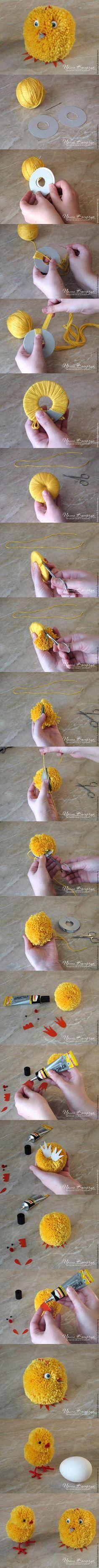 DIY Cute Pom-Pom Easter Chicks #craft #Easter #pompom