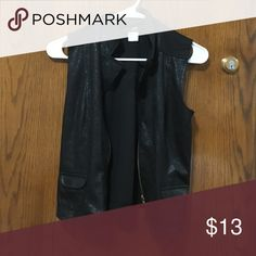 2 Hip zip up faux leather biker vest Bought for Halloween from TJ MAXX but don't need it anymore! Soft stretchy material that's made to look like a biker vest. I'm a 36DDD and it zips up all the way for size reference 2 Hip Tops