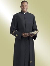 7a9e307c090 Black Clergy Cassock with Gold Trim. Clergy Apparel - Pastor Robes ...