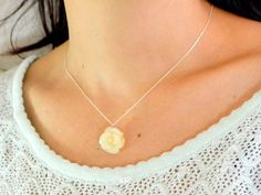 YELLOW ROSE #NECKLACE,Rose necklace, #rose pendant, gemstone rose, flower pendant, rose #jewelry, flower jewelry, gift to girlfriend, silver