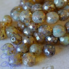 ☠ Pirate Pearls ☠ - Czech Glass Round Faceted Beads - Champagne Opalite Picasso - 12mm