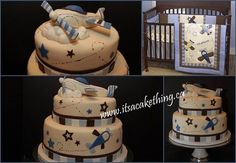 """My client called and asked for a Baby Shower cake. She knew she was having a boy and didn't want a typical """"baby theme"""". So we went vintage…vintage style airplanes that is. She loved this certain style of bedding.so I pulled inspiration from the. Airplane Baby Shower Cake, Airplane Birthday Cakes, Themed Birthday Cakes, Baby Shower Cakes, Baby Boy Shower, Baby Cakes, Vintage Airplane Party, Baby Girl Birthday, Birthday Ideas"""