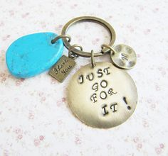 Just Go For It Initial Keychain, inpirational, hand stamped, by romanticcrafts #inspirational #jewelry #accessories #handmade