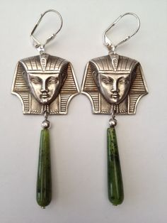 Art Deco silver plated earrings in Egyptian Revival style with Tutankhamun heads and long nephrite drops.