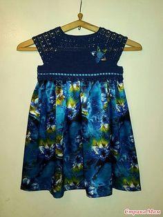 Платье для доченьки. Верх связан из Coco, крючок номер 2. Низ из атласа.