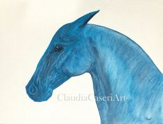 "Oil painting ""Blue"". Visit me on Etsy: ClaudiaCaseriArt #horses #horse art #oil paintings #blue horse #home decoration #art"