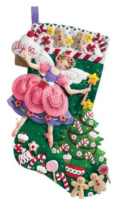 Bucilla 18-Inch Christmas Stocking Felt Applique Kit, Sugar Plum Fairy Wish I had the patience to make this