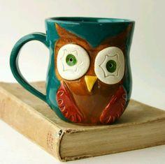 Owl Ceramic Mug, via Etsy. Crazy Owl, Owl Cookies, Owl Mug, Stoneware Clay, Deco, Artsy, Turquoise, Shapes, Happy Owl