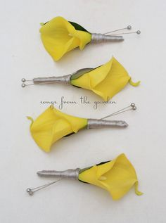 Yellow Grey Real Touch White Calla Lily Boutonnieres Groom Groomsmen Wedding Flower Package Yellow Callas Customize for Your Wedding Colors on Etsy, $40.00