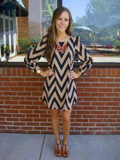 Mocha Chevron Dress $87  HAVE THIS.. LOVE IT!