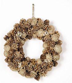 "Amazon.com: Silvery Pinecone Glitter Wreath 15"" CLOSEOUT!: Home & Kitchen Pine Cone Christmas Tree, Pinecone, Burlap Wreath, Glitter, Wreaths, Amazon, Kitchen, Home Decor, Pineapple"