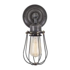 Orlando Vintage Wire Cage Retro Sconce Wall Light - Dark Pewter
