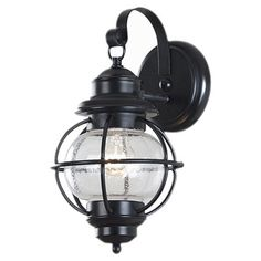 Kenroy Home - Hatteras Black Finish Small Wall Lantern - It features clear seeded glass that will brighten your home. It works equally well indoors or out. A perfect accent piece for any home. Instructions are included. Outdoor Barn Lighting, Outdoor Wall Lantern, Outdoor Wall Sconce, Wall Sconce Lighting, Outdoor Walls, Home Lighting, Wall Sconces, Lighting Ideas, Exterior Lighting