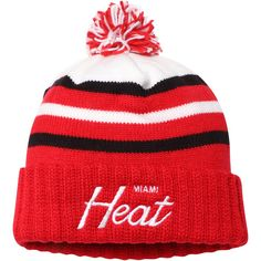 cd3fa294e46 Men s Miami Heat Mitchell   Ness Red Color Block Special Script Cuffed Knit  Hat with Pom