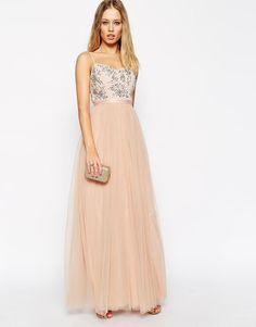 Needle & Thread | Needle & Thread Embellished Crystal Petal Maxi Dress at ASOS