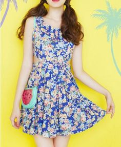 Cotton Denim Tank Dress with Cut-away Waist in Floral Print - Casual Dresses - Dresses - Clothing - All Products