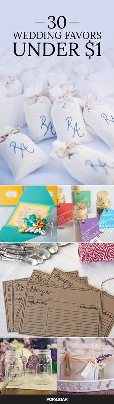 You're spending a lot on your wedding, so one of the easiest places to save some money is with your favors. Check out these cute ideas that barely cost a thing