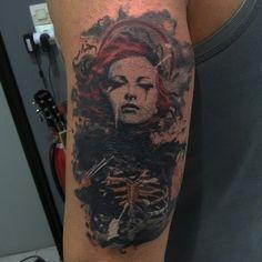tattoo !! cover up  realistic trash polka