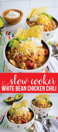 Slow Cooker White Bean Chicken Chili Recipe - a healthy recipe that your whole family will love from www.thirtyhandmadedays.com