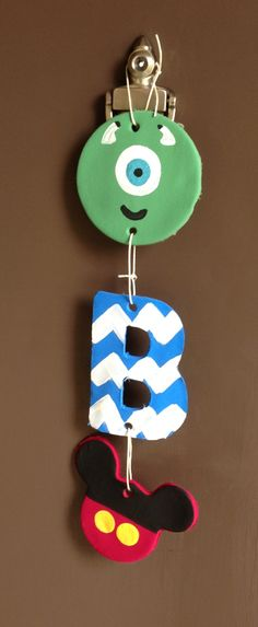 DIY clay monogram and disney characters mike wazowski and Mickey Mouse wall / door hanger