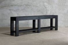 Long Slatted Reclaimed Elm Console Made from Salvaged Wood Available in Charcoal, Light Elm, Old Grain, Jacobean and Chocolate Finishes Also Available As