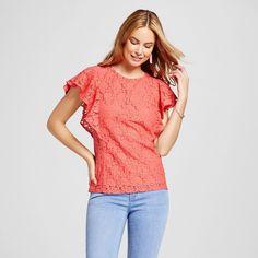 Women's Lace Ruffle Sleeve Top - Merona