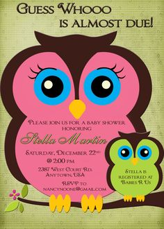 Owl Baby Shower Invitation-boy or girl pink and green mom and baby owl Custom Printable.. $13.00, via Etsy.