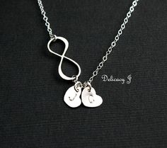 Personalized infinity necklace, Initial heart necklace, TWO monogram initials and figure eight, His and her necklace, Couple mother daughter