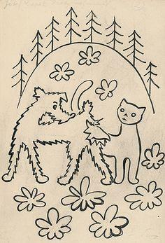 Josef Čapek - Povídání o pejskovi a kočičce Cubism, Illustrators, Coloring Books, Modern Art, Dog Cat, Childhood, Graphic Design, Retro, Tattoos