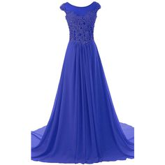 Royal Blue Scoop Neck Chiffon Cap Straps Appliques Lace Court Train... ($139) ❤ liked on Polyvore featuring dresses, long lace dress, royal blue long dress, royal blue prom dresses, blue prom dresses and long prom dresses