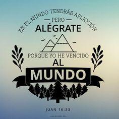 En el mundo tendrás aflicción. Pero alégrate porque yo he vencido al mundo.  (Juan 16:33) #Citas que inspiran todos los días en el blog del Canal Mormón.