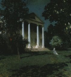 """'May Night' is a 1906 oil painting by American Impressionist Willard Metcalf. It is a nocturne depicting the home of Florence Griswold, now the Florence Griswold Museum in Old Lyme, Connecticut. It was the first contemporary painting purchased by the Corcoran Gallery of Art, and is Metcalf's """"most celebrated work."""""""