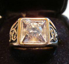 Cubic zirconia enamel ring size 9 unisex vintage 1980s #Unbranded