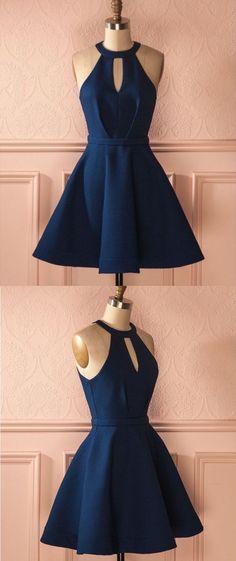 A-Line Prom Dresses,,Keyhole Dark Blue Dresses,Short Homecoming Dresses,Cocktail Dresses 2017 #shortpromdresses #homecomingdressesshort