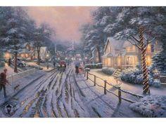 Thomas Kinkade Hometown Christmas Memories Painting Limited Edition Canvas