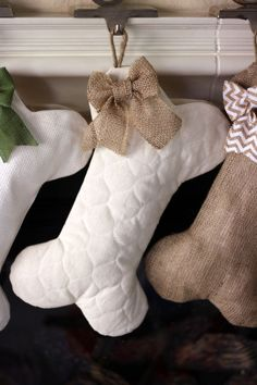Quilted Dog Bone Christmas Stocking with Optional Bow - Pet Stocking by BurlapBabe on Etsy https://www.etsy.com/listing/252708181/quilted-dog-bone-christmas-stocking-with