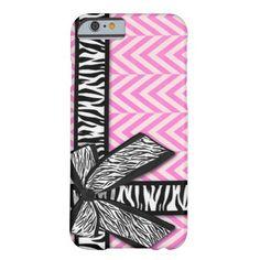 Girly zebra ribbon & bow, pink chevron stripes iPhone 6 case #PinkAndBlackObsession