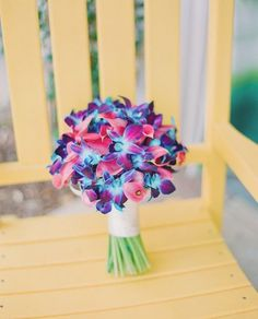 Bright Orchid + Calla Wedding Bouquet