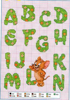 Cross stitch alphabet with Tom and Jerry - free cross stitch patterns crochet knitting amigurumi Cross Stitch Letters, Cross Stitch For Kids, Cross Stitch Books, Cross Stitch Charts, Loom Patterns, Stitch Patterns, Tom Et Jerry, Christmas Alphabet, Hobbies For Kids