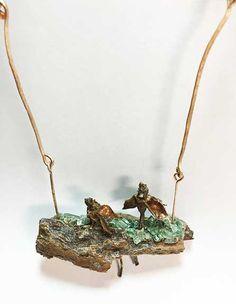 Found art necklace:  Bark, Apoxie Sculpt, dead roses, broken car windscreen, bronze, matte medium. Found Art, My Images, Antique Jewelry, Objects, Bead, Bronze, Necklaces, Button, Medium