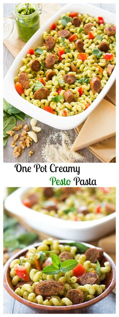 A one pot creamy pesto pasta filled with savory Italian turkey sausage, crisp bell pepper, and tender spinach greens. A quick and easy weeknight meal that can be made in under 30 minutes.