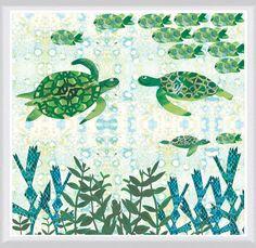 Turtles Framed Painting Print