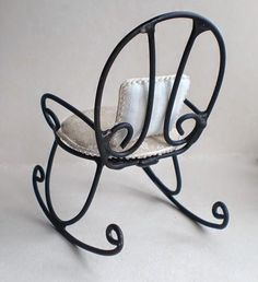 my little evasion: A pair of classic Iron Furniture, Steel Furniture, Doll Furniture, Home Decor Furniture, Dollhouse Furniture, Furniture Design, Swinging Chair, Rocking Chair, Diy Dollhouse