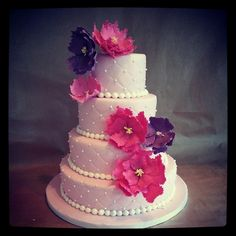 pink and fun wedding cake