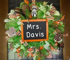 Woodland Creatures Classroom Wreath, Classroom Wreath, School Wreath, Teacher Wreath, Classroom Decor, Classroom Door Hanger, School Door by Texascaseyscreations on Etsy