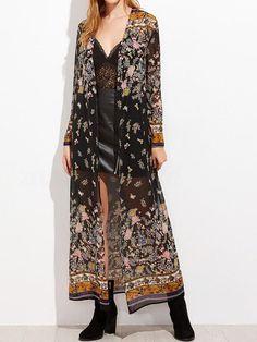 6d7630dc9b3 2018 New Chiffon Floral Print Long Sleeve Boho Beach Cover Up. Women s  Kimono ...